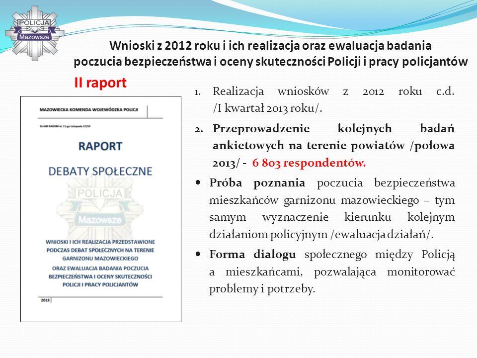 Wnioski z 2012 roku i ich realizacja oraz ewaluacja badania poczucia bezpieczeństwa i oceny skuteczności Policji i pracy policjantów