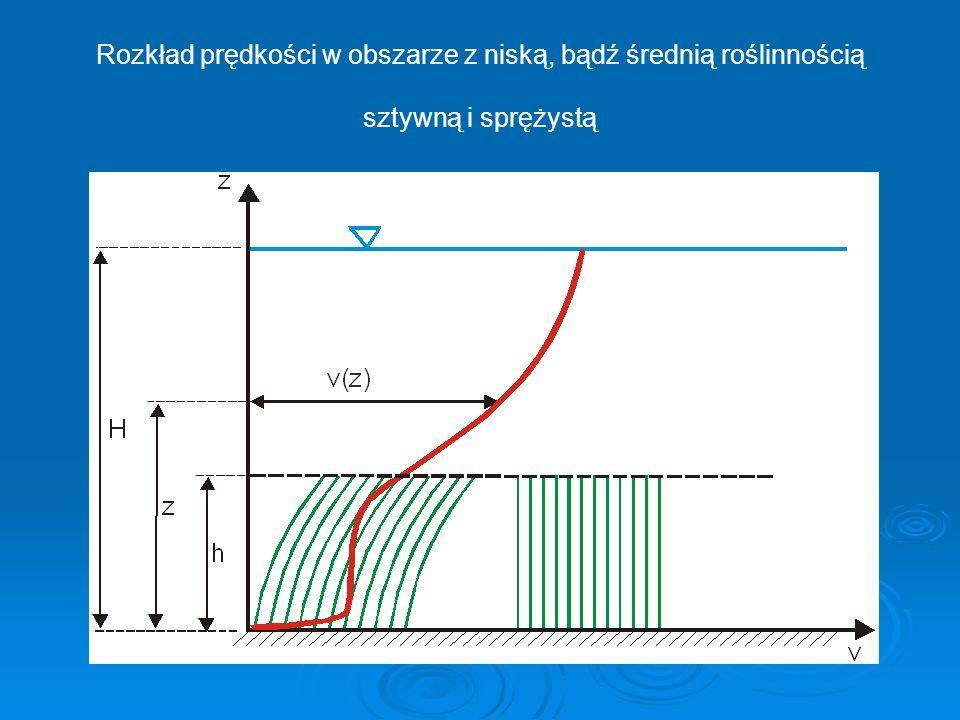 Rozkład prędkości w obszarze z niską, bądź średnią roślinnością sztywną i sprężystą