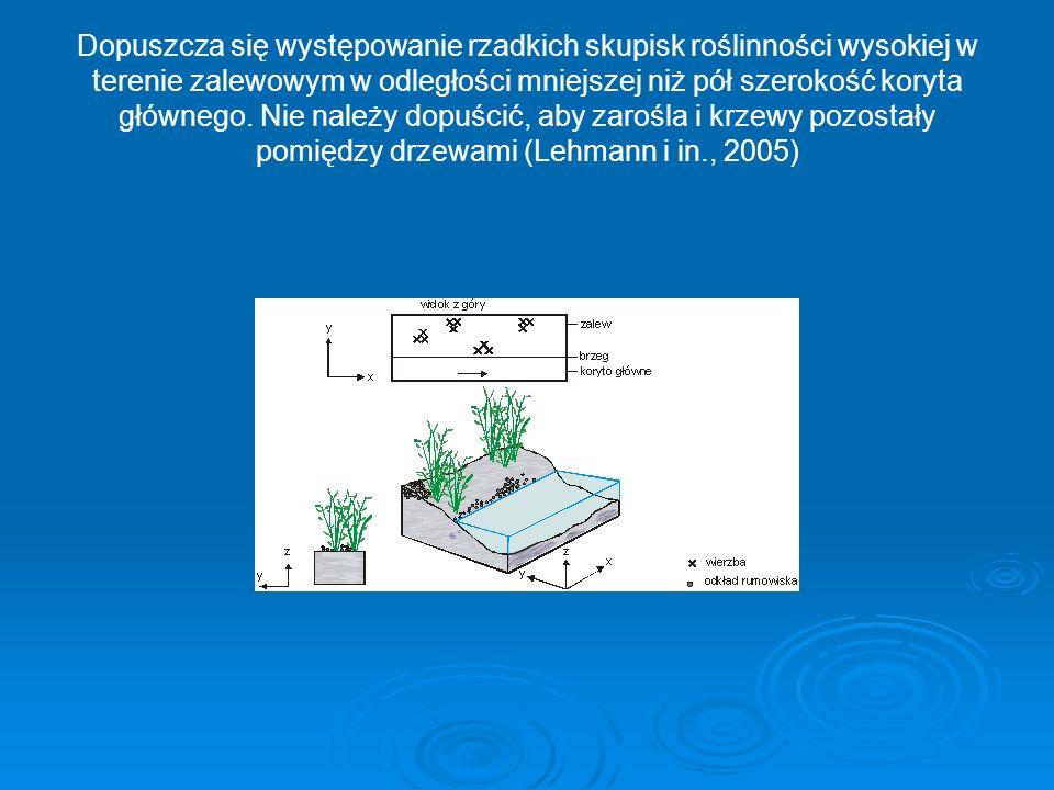 Dopuszcza się występowanie rzadkich skupisk roślinności wysokiej w terenie zalewowym w odległości mniejszej niż pół szerokość koryta głównego.