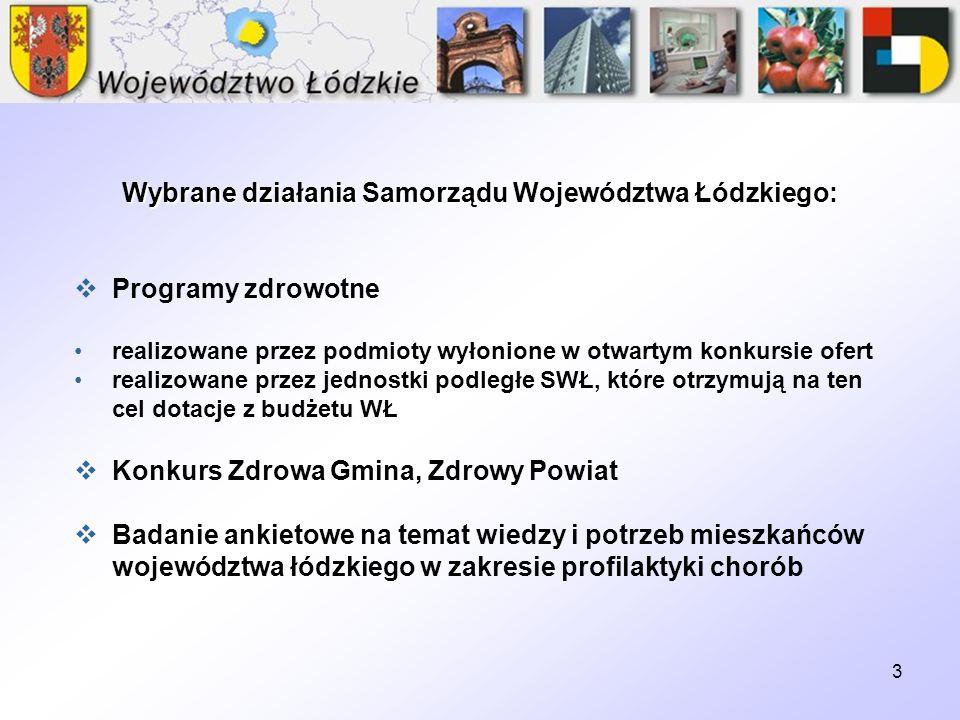 Wybrane działania Samorządu Województwa Łódzkiego: