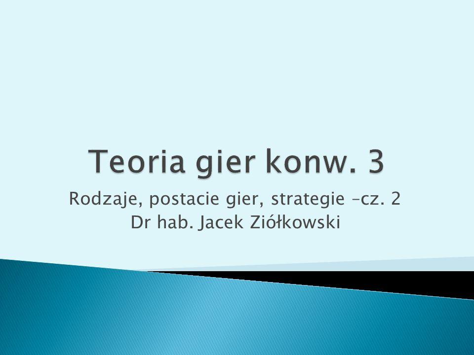 Rodzaje, postacie gier, strategie –cz. 2 Dr hab. Jacek Ziółkowski