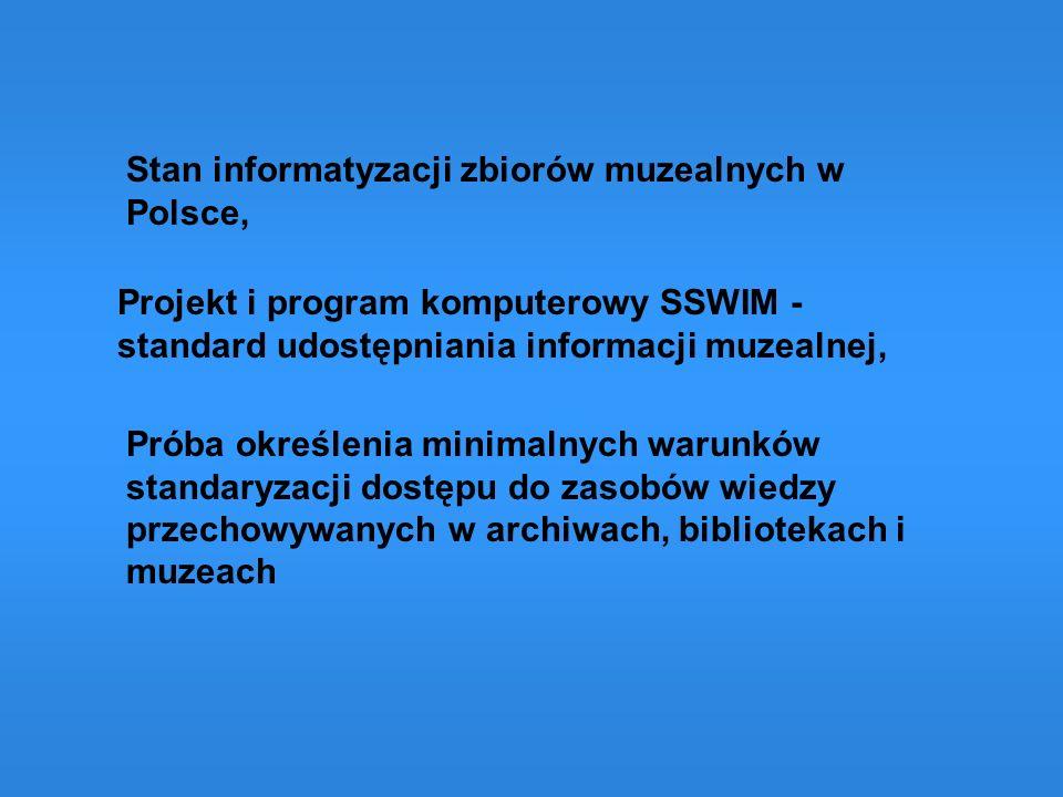 Stan informatyzacji zbiorów muzealnych w Polsce,