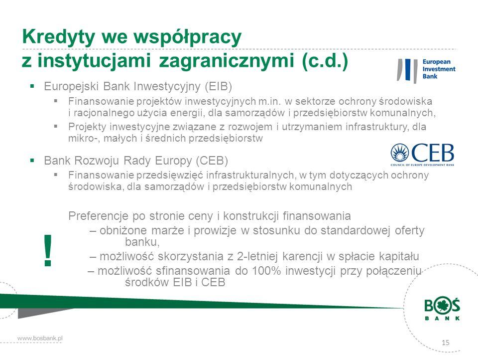 Kredyty we współpracy z instytucjami zagranicznymi (c.d.)