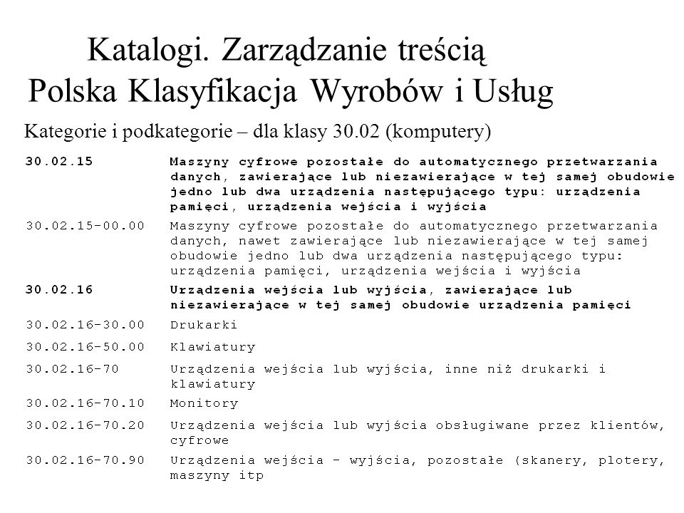 Katalogi. Zarządzanie treścią Polska Klasyfikacja Wyrobów i Usług