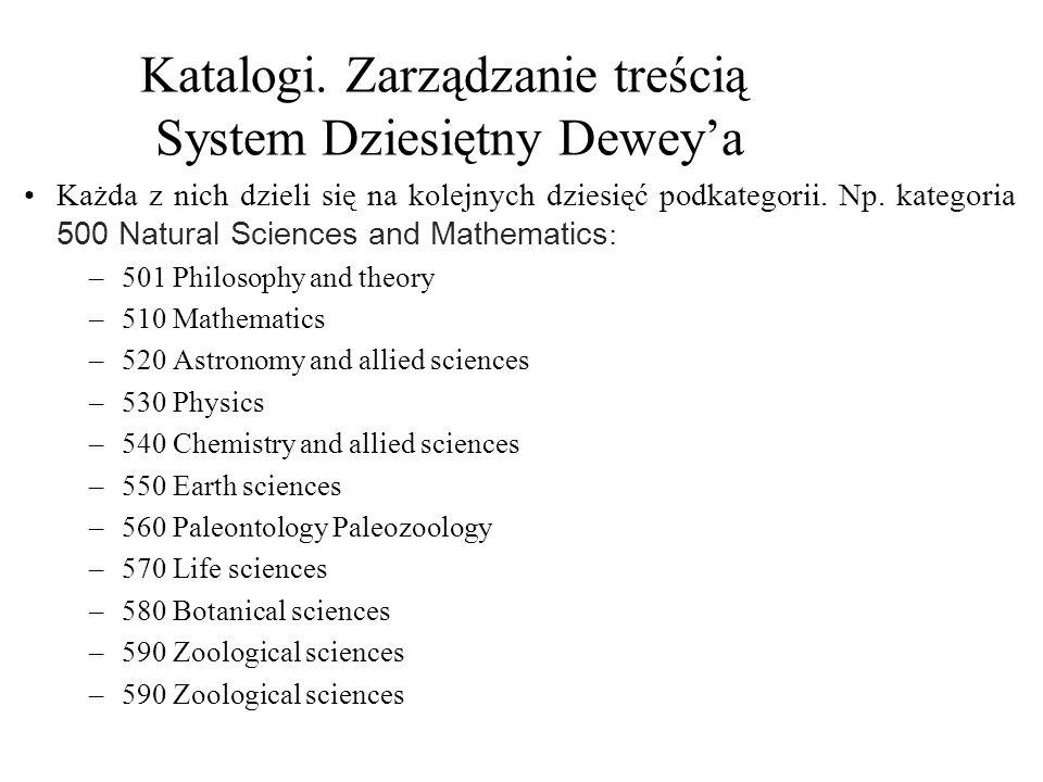 Katalogi. Zarządzanie treścią System Dziesiętny Dewey'a