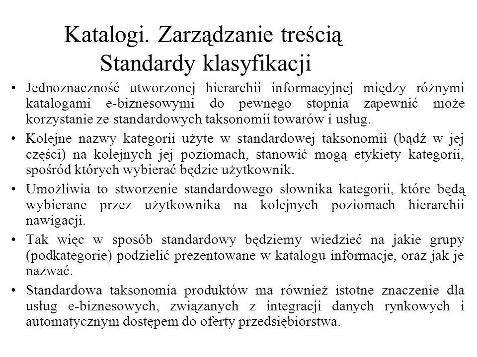 Katalogi. Zarządzanie treścią Standardy klasyfikacji