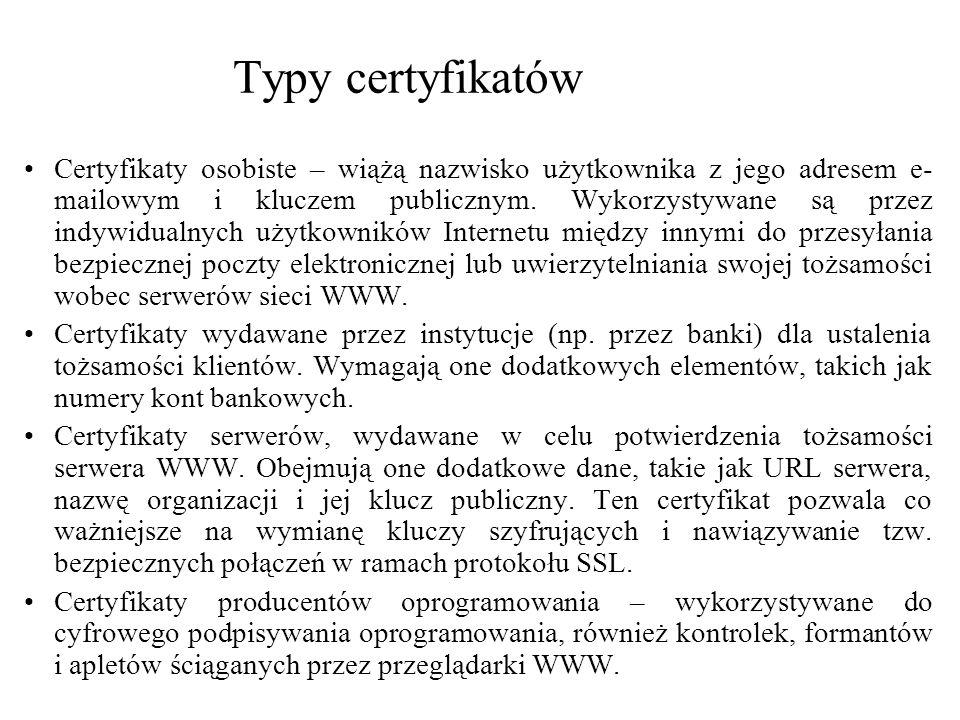 Typy certyfikatów