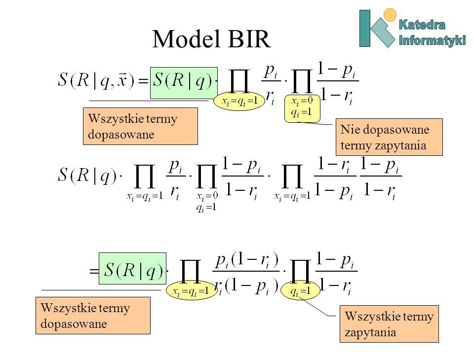 Model BIR Wszystkie termy dopasowane Nie dopasowane termy zapytania