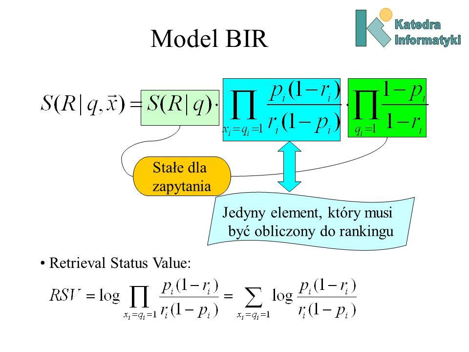 Model BIR Stałe dla zapytania Jedyny element, który musi