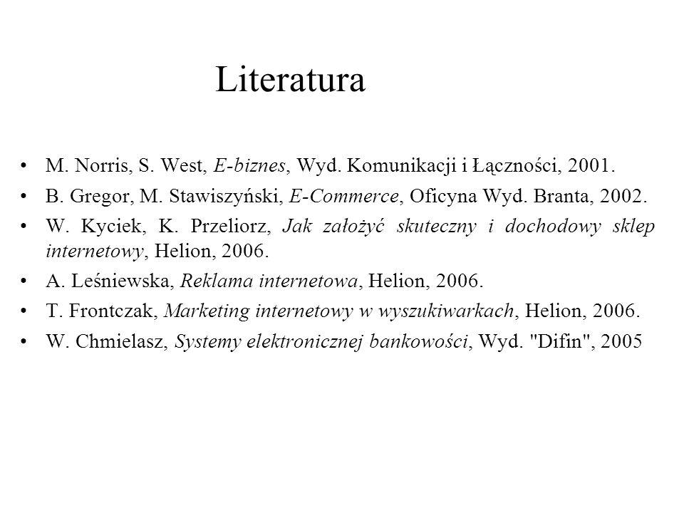 Literatura M. Norris, S. West, E-biznes, Wyd. Komunikacji i Łączności, 2001. B. Gregor, M. Stawiszyński, E-Commerce, Oficyna Wyd. Branta, 2002.