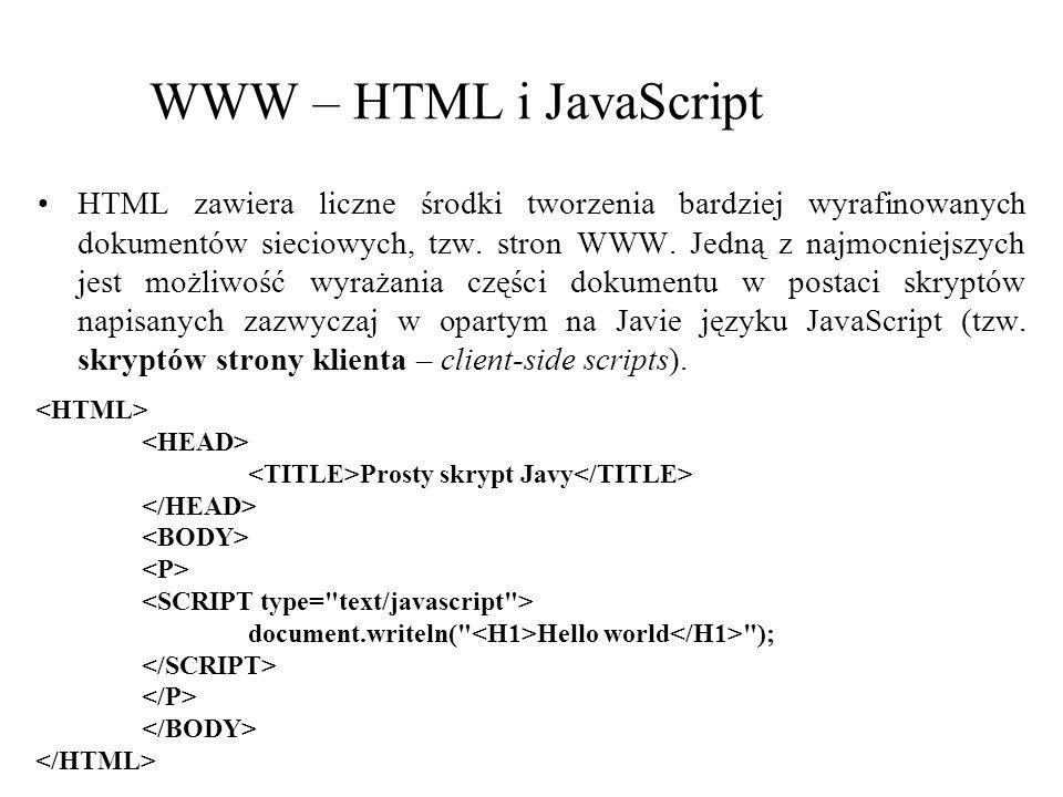 WWW – HTML i JavaScript
