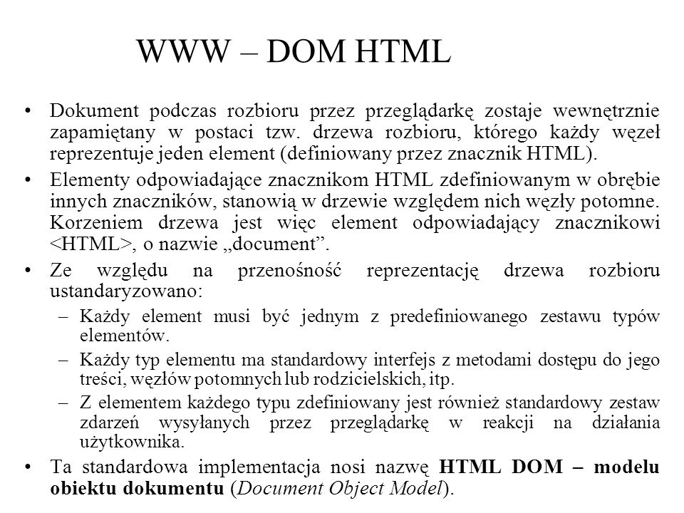 WWW – DOM HTML