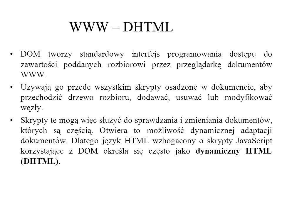 WWW – DHTML DOM tworzy standardowy interfejs programowania dostępu do zawartości poddanych rozbiorowi przez przeglądarkę dokumentów WWW.