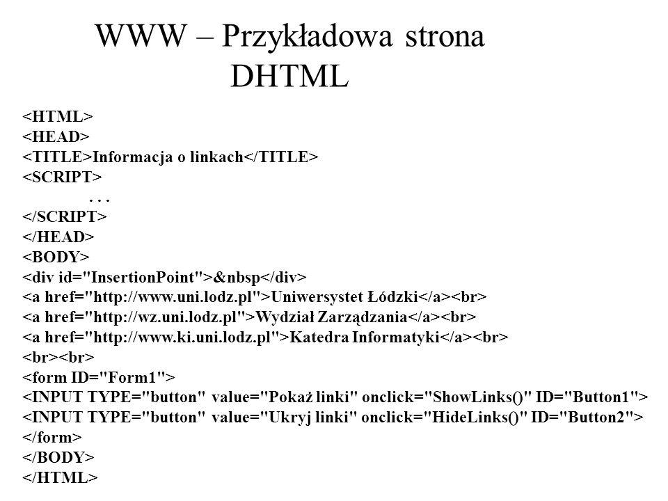 WWW – Przykładowa strona DHTML