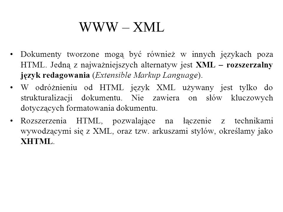 WWW – XML