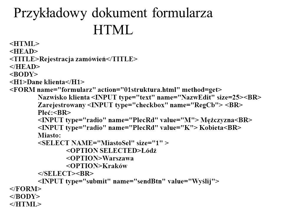 Przykładowy dokument formularza HTML