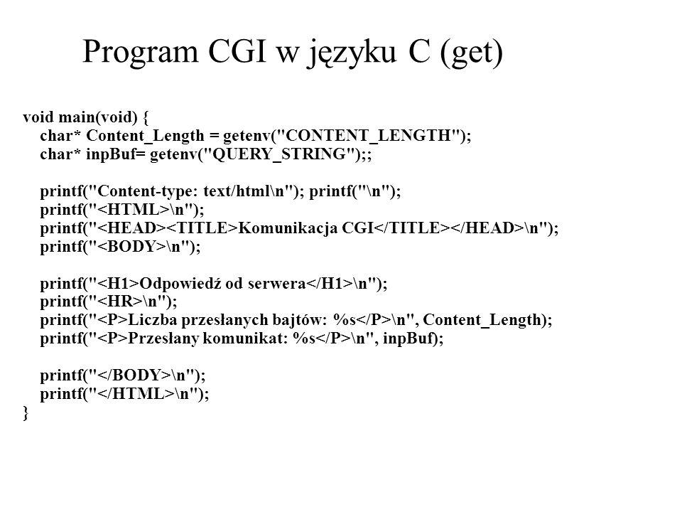 Program CGI w języku C (get)