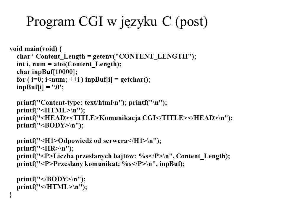 Program CGI w języku C (post)