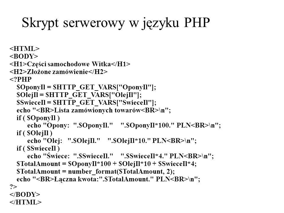 Skrypt serwerowy w języku PHP