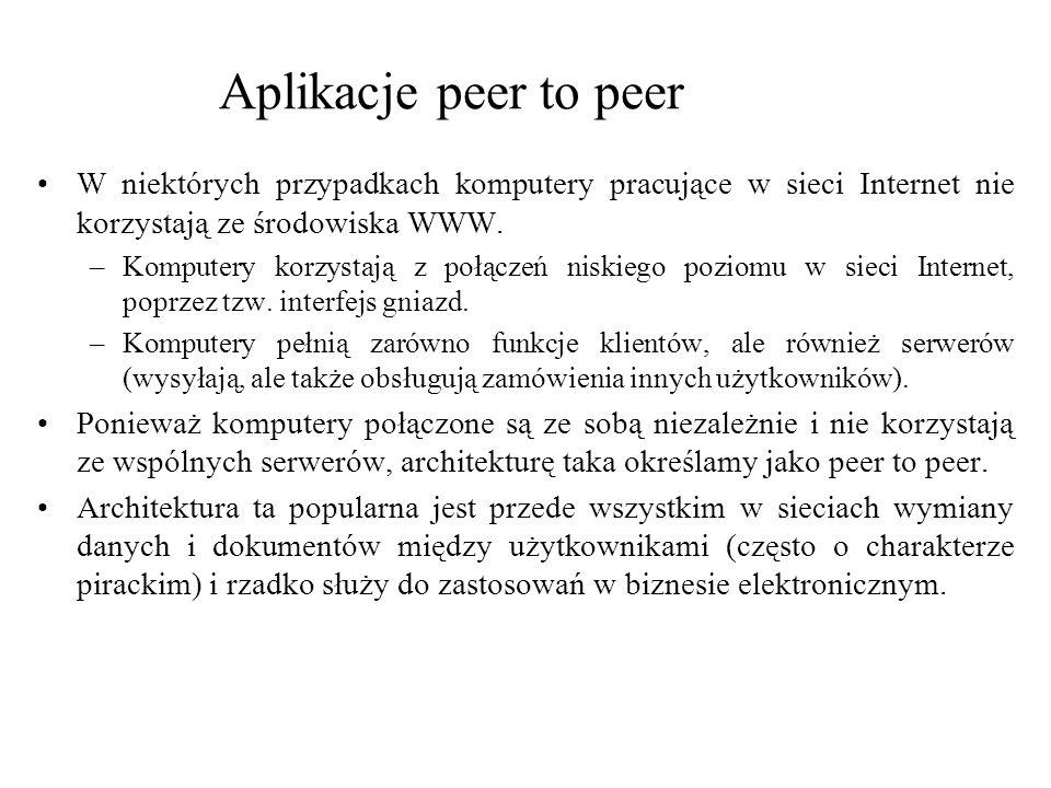 Aplikacje peer to peer W niektórych przypadkach komputery pracujące w sieci Internet nie korzystają ze środowiska WWW.