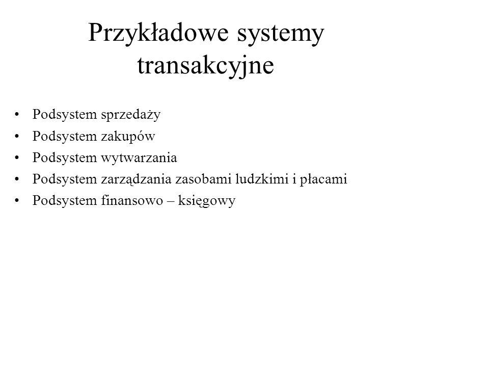 Przykładowe systemy transakcyjne