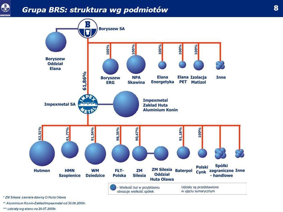 Grupa BRS: struktura wg podmiotów