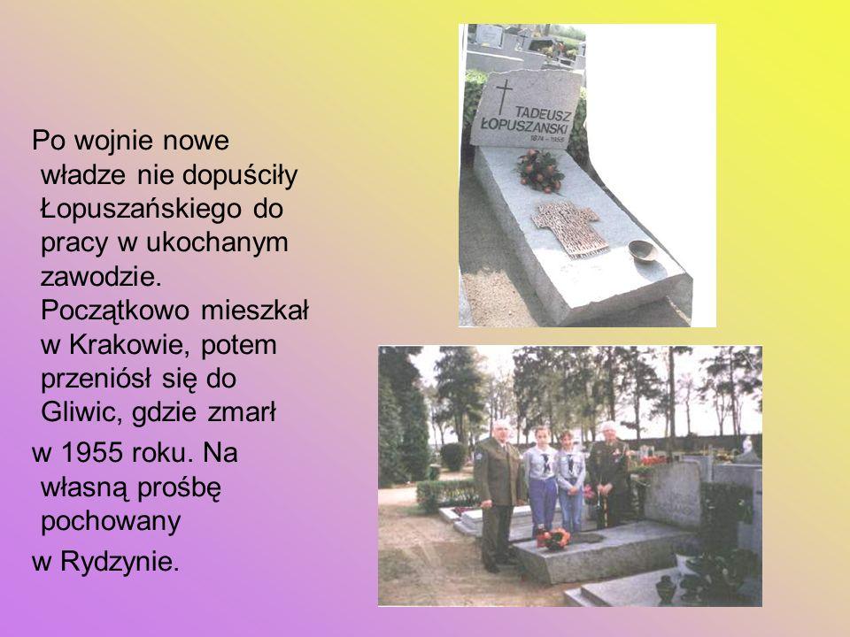 Po wojnie nowe władze nie dopuściły Łopuszańskiego do pracy w ukochanym zawodzie. Początkowo mieszkał w Krakowie, potem przeniósł się do Gliwic, gdzie zmarł
