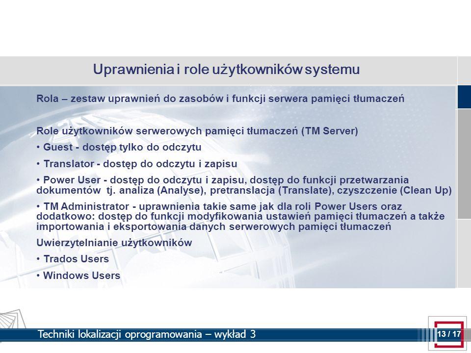 Uprawnienia i role użytkowników systemu