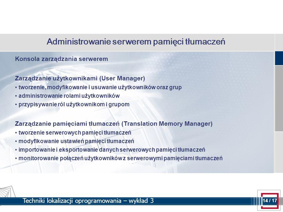 Administrowanie serwerem pamięci tłumaczeń