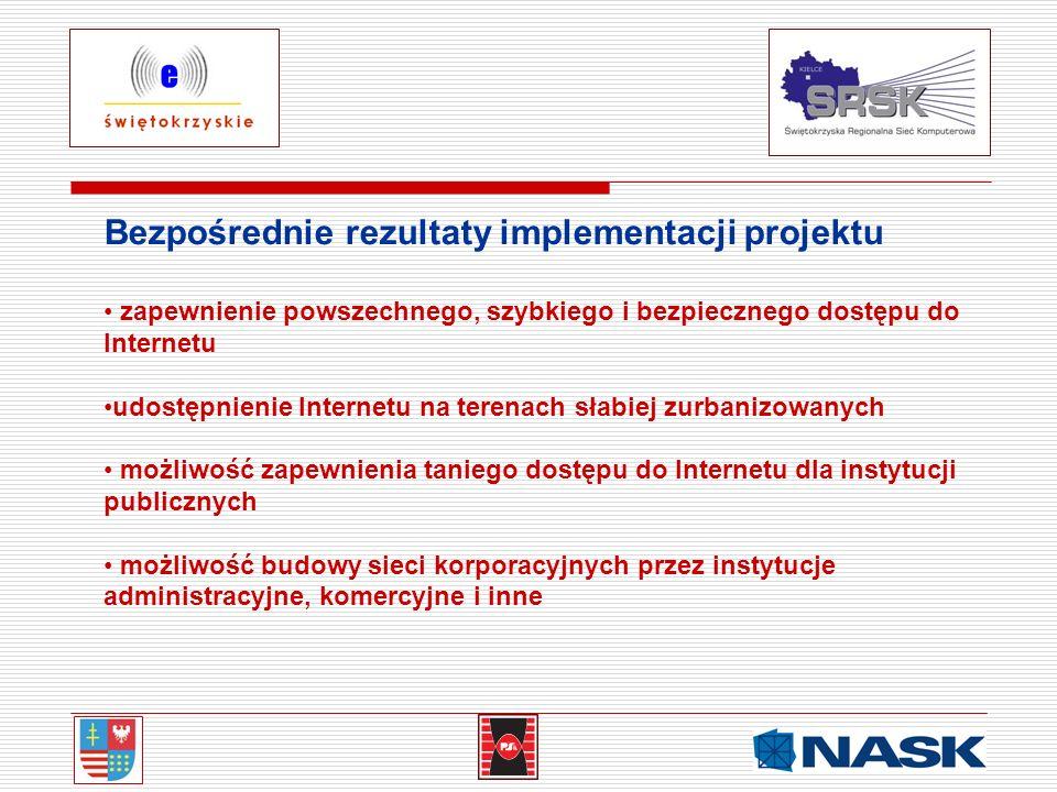 Bezpośrednie rezultaty implementacji projektu