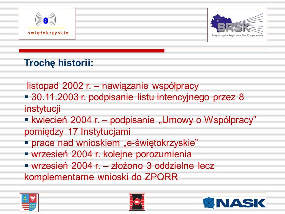 Trochę historii: listopad 2002 r. – nawiązanie współpracy. 30.11.2003 r. podpisanie listu intencyjnego przez 8 instytucji.