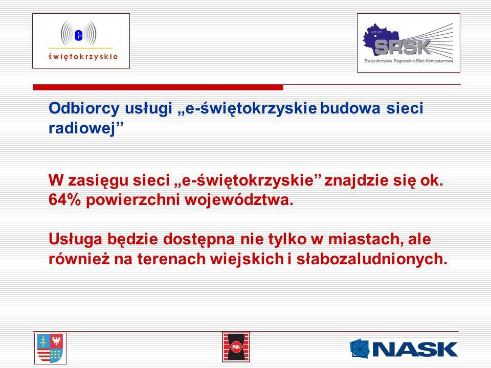 """Odbiorcy usługi """"e-świętokrzyskie budowa sieci radiowej"""
