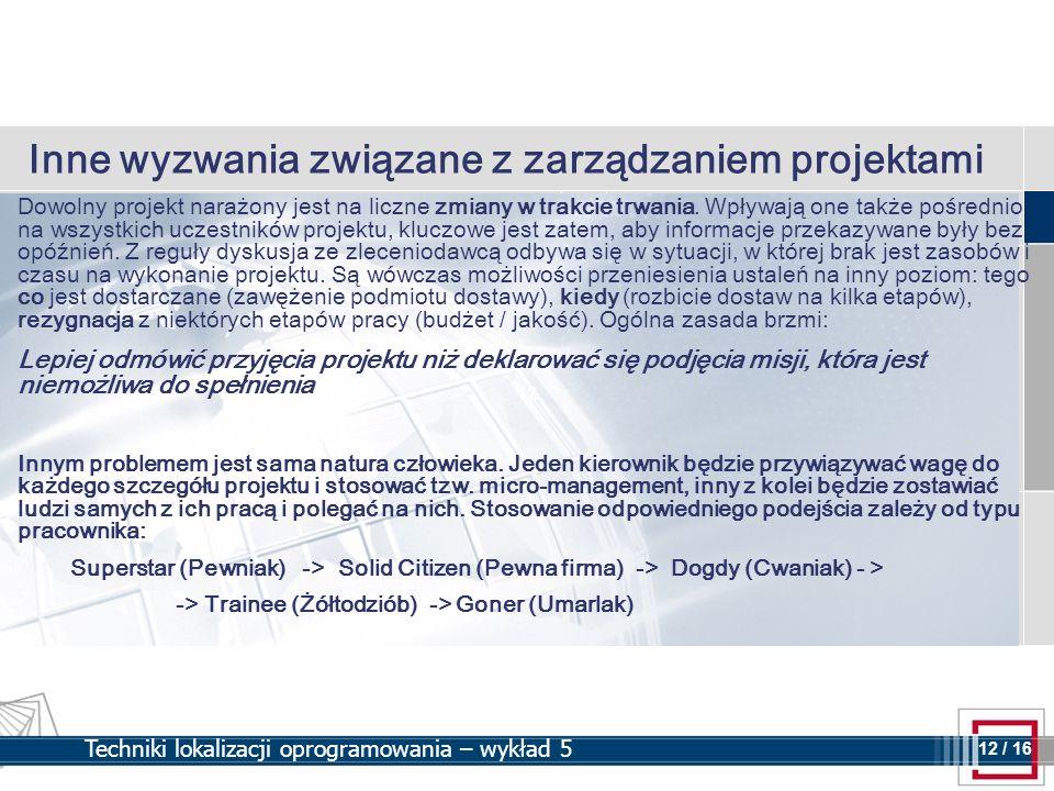Inne wyzwania związane z zarządzaniem projektami