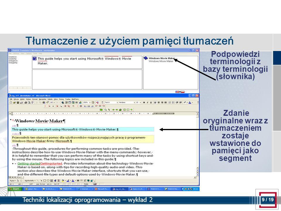 Podpowiedzi terminologii z bazy terminologii (słownika)