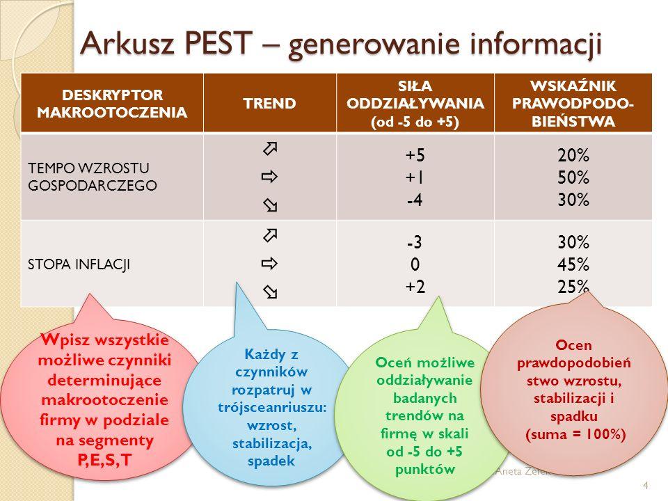 Arkusz PEST – generowanie informacji