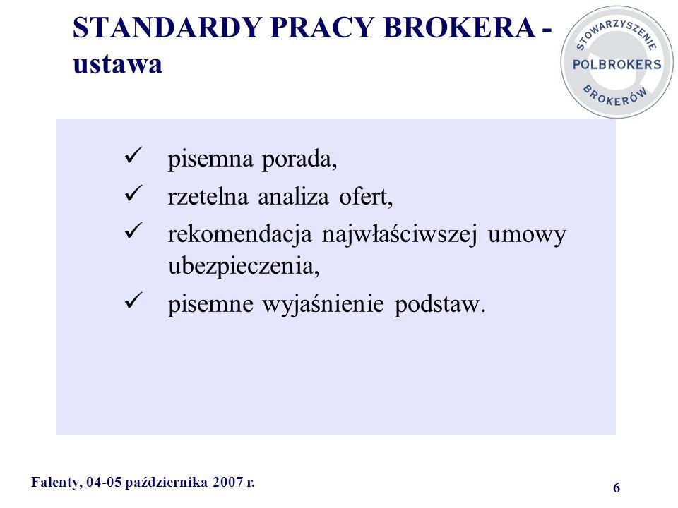 STANDARDY PRACY BROKERA - ustawa