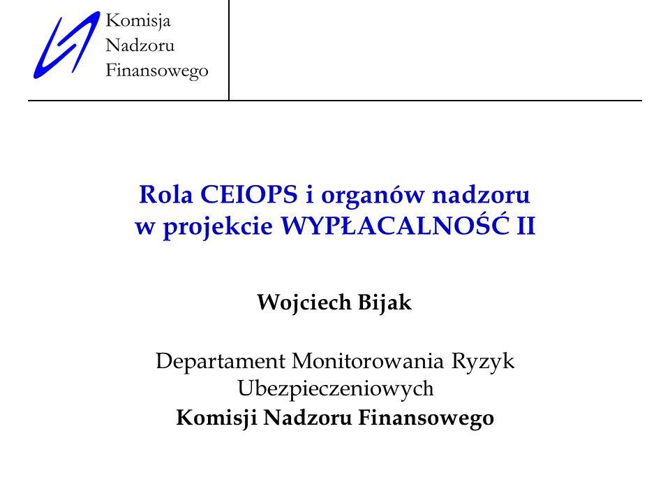 Rola CEIOPS i organów nadzoru w projekcie WYPŁACALNOŚĆ II