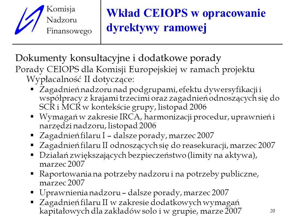Wkład CEIOPS w opracowanie dyrektywy ramowej