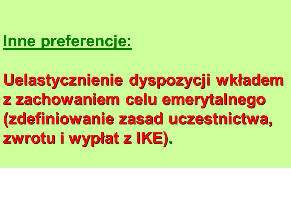 Inne preferencje: Uelastycznienie dyspozycji wkładem z zachowaniem celu emerytalnego (zdefiniowanie zasad uczestnictwa, zwrotu i wypłat z IKE).