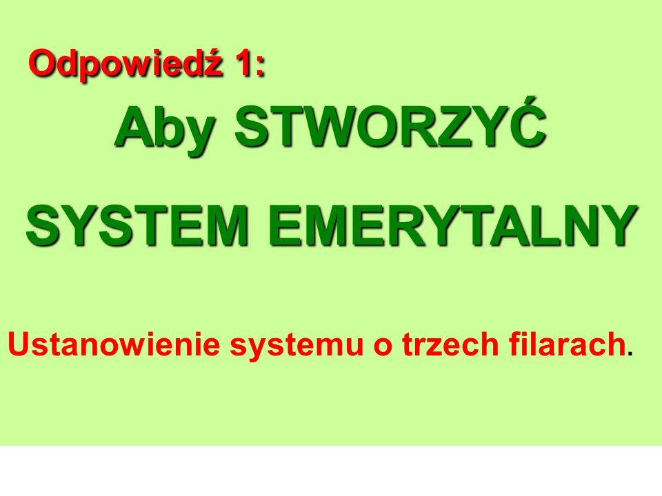 Odpowiedź 1: Aby STWORZYĆ SYSTEM EMERYTALNY