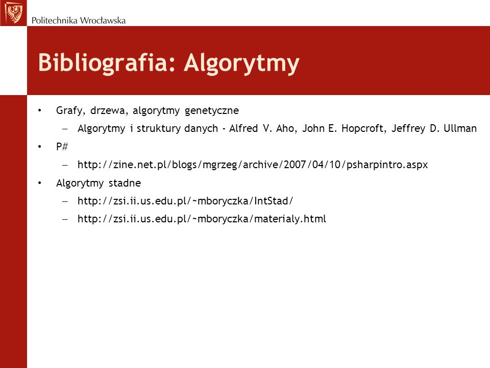 Bibliografia: Algorytmy