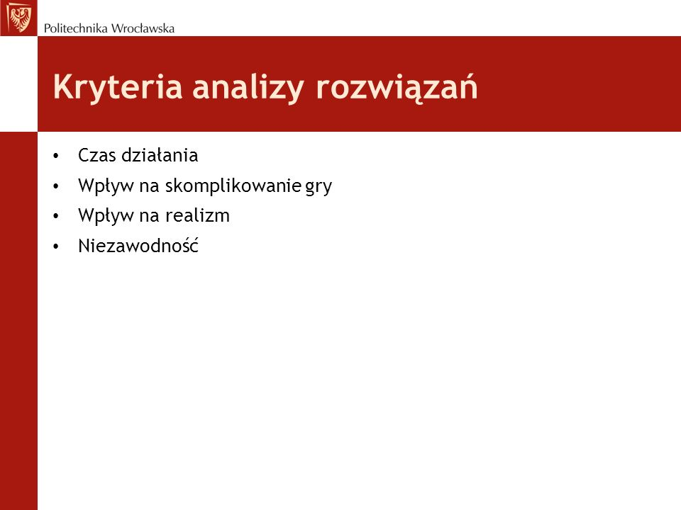 Kryteria analizy rozwiązań