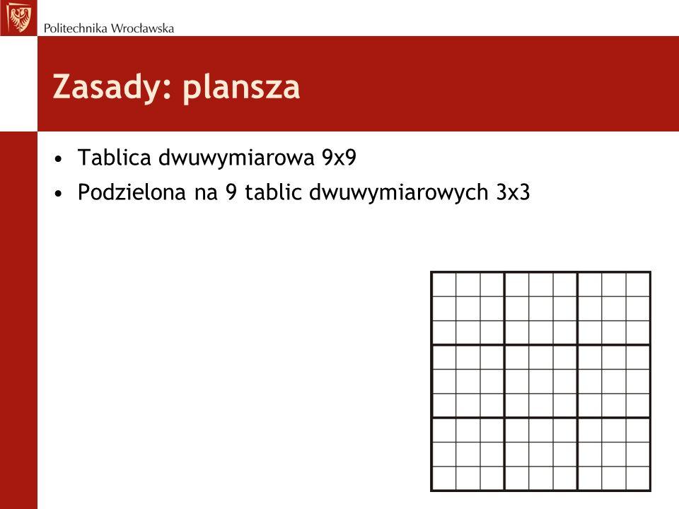 Zasady: plansza Tablica dwuwymiarowa 9x9