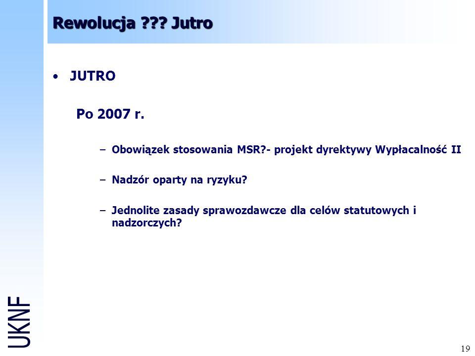 Rewolucja Jutro JUTRO Po 2007 r.