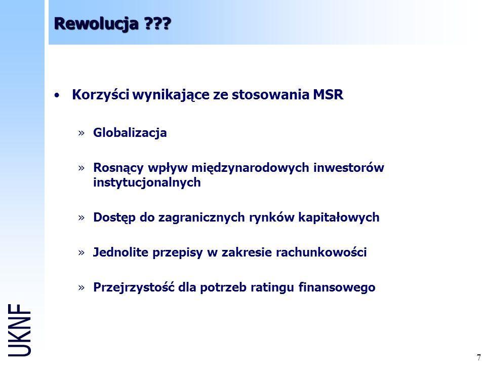 Rewolucja Korzyści wynikające ze stosowania MSR Globalizacja