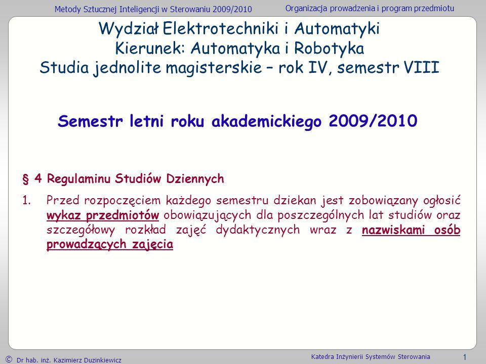 Semestr letni roku akademickiego 2009/2010