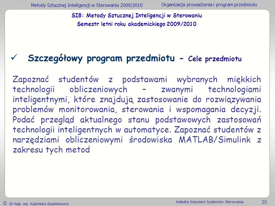 Szczegółowy program przedmiotu - Cele przedmiotu
