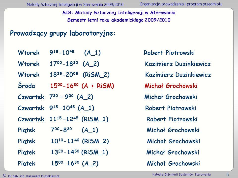 Prowadzący grupy laboratoryjne: