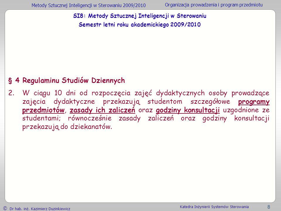 § 4 Regulaminu Studiów Dziennych