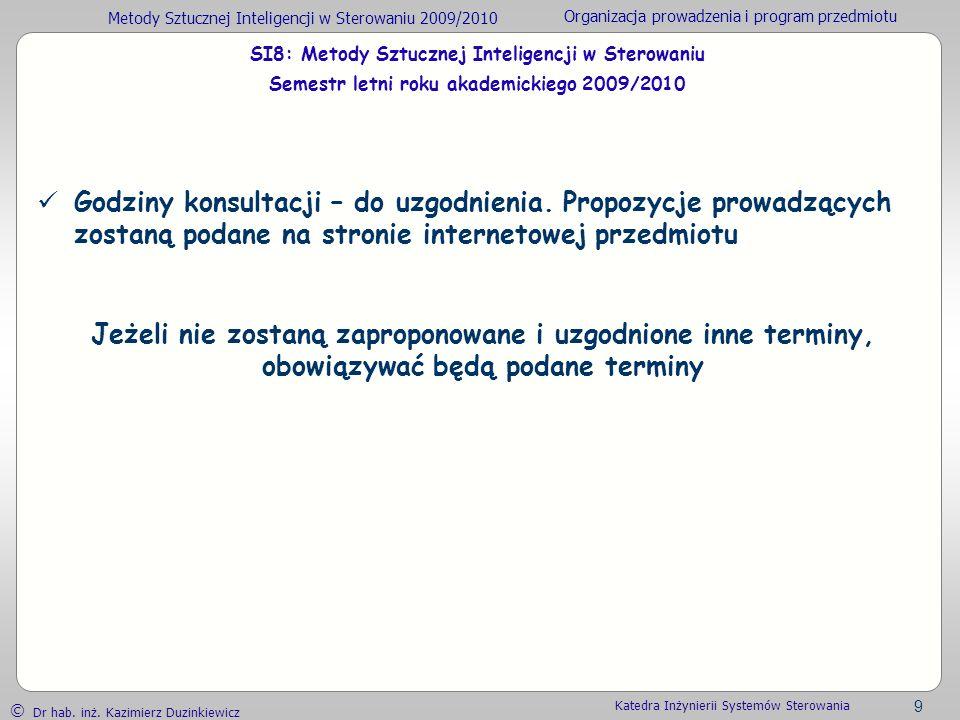 SI8: Metody Sztucznej Inteligencji w Sterowaniu